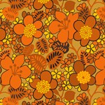 Orange Flowers 1960s Hippie Art