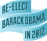 Bendy Blue Re-Elect Obama Bannerish Tees