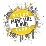 Fight Like a Girl Childhood Cancer Splatter Shirts