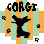 Welsh Corgi Green/Orange Stripe
