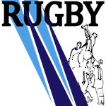 Rugby Line Out Blue and Light Blue