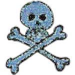 Crazy Skull Blue Mosaic Skull and Crossbones