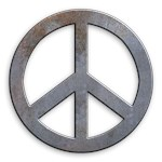Distressed Metal Look Peace Symbol
