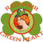 Red Hair Green Heart Irish Girl T-shirts
