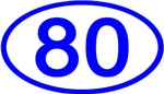 Number 80 Oval (Blue)