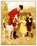 VINTAGE DOG ART: HUNTER, FOXHOUNDS, CHILDREN
