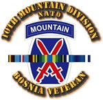 Army - Bosnia - 10th Mountain Div w Svc Ribbons