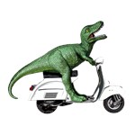 T-Rex Dinosaur Riding a Vespa Scooter