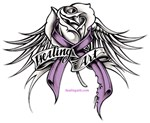 Healing Art Rose with wings and ribbon