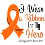 I Wear a Ribbon For My Hero Kidney Cancer T Shirts