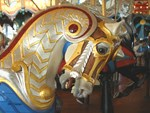 Grey Armored Carousel Horse