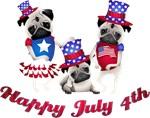 Happy 4th of July 3 Pugs