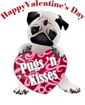 Valentine's Day Fawn Pug with Heart