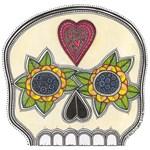 Heart and Flowers Half Skull