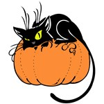 Black Cat with Pumpkin T-Shirts