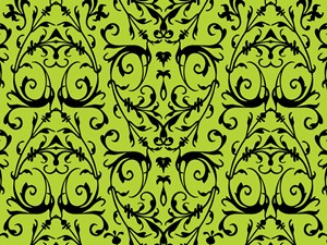 Green And Black Damask Pattern