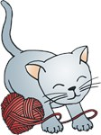 Cute Kitty With Yarn Heart T-shirts