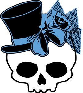 Cute Skull With Blue Bow Tophat