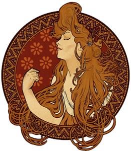 Art Nouveau Long Haired Woman
