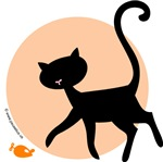 Black cat playing with orange catnip mouse. Adorable design from Pauselius Art+Design.