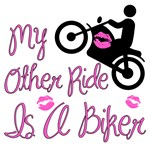 My other ride is a biker, pink motorcycle