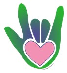 Green/Pink Heart ILY Hand