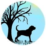 Tree & Bloodhound Dog