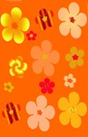 Orange Floral Pop Art