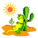 Cactus in the Desert Iguana Funny Gifts!
