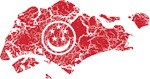 Singapore Civil Ensign Flag And Map
