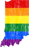 Indiana Rainbow Pride Flag And Map
