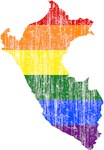 Peru Rainbow Pride Flag And Map