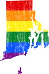 Rhode Island Rainbow Pride Flag And Map