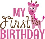 Girl Giraffe First Birthday