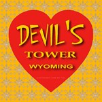 Devil's Tower Wyoming Golden Snowflake Heart