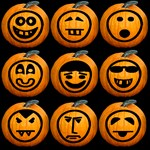 9 Cute Jack-o-lanterns Set 1