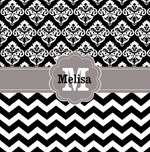 Black chevron damask monogram