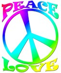 Woodstock generation psychedelic peace sign