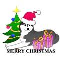 Black Siberian Husky Christmas