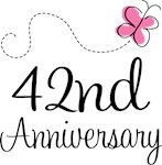 42nd Anniversary Pink Butterfly Keepsake Gifts