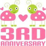 3rd Anniversary Gift Pink Ladybug T-shirt
