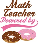 Math Teacher Powered By Doughnuts Gift T-shirts