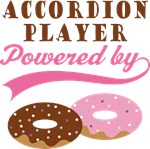 ACCORDION PLAYER POWERED BY DONUTS T-shirts