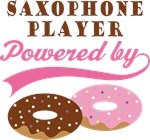 SAXOPHONE PLAYER POWERED BY DONUTS T-shirts