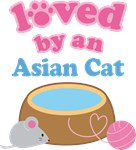 Loved By An Asian Cat T-shirts
