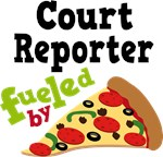 Court Reporter Funny Fueled By Pizza T-shirts