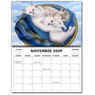"""22""""x17"""" 2009 Wall Calendars with 13 Cat Paintings"""