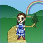 Dorothy from the Wizard of Oz is following the yellow brick road in her ruby red shoes.  Her home is some where back over the rainbow behind her.