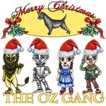 The Wonderful Wizard of Oz Gang is wishing you a Merry Christmas.  Complete with Toto, Dorothy Gale, the Cowardly Lion, the Tinman and the Scarecrow this loveable collection of anime styled Wizard of Oz characters will charm anyone's heart.