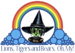 With all the colors of the rainbow, this Wonderful Wizard of Oz inspired design capturesWicked Witch of the West Lions, Tigers and Bears Oh My.  The perfect gift for any Oz fan.